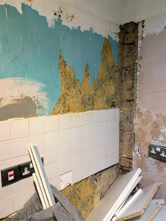 Old kitchen being removed