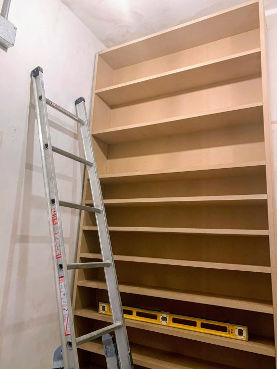 New CD shelves being installed