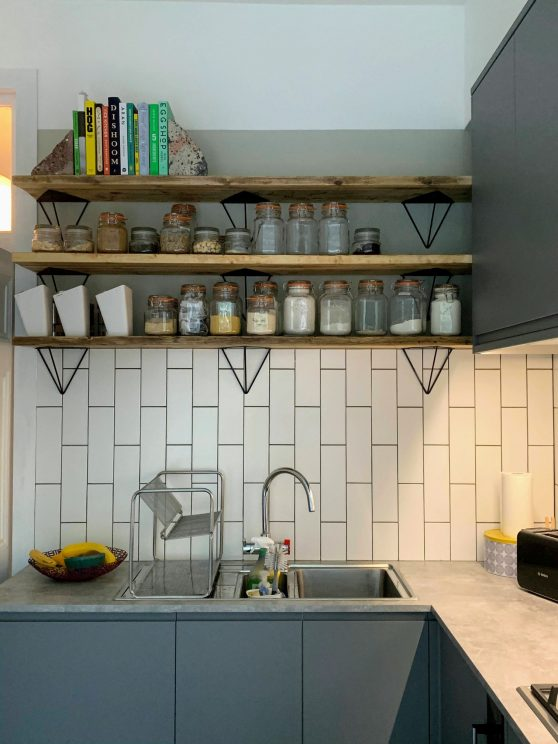 Tiles and shelves installed in the kitchen