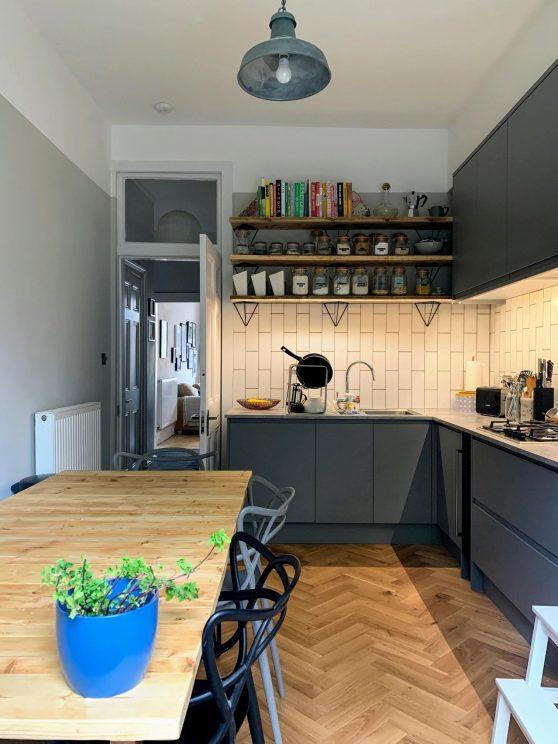 Completed kitchen - door view