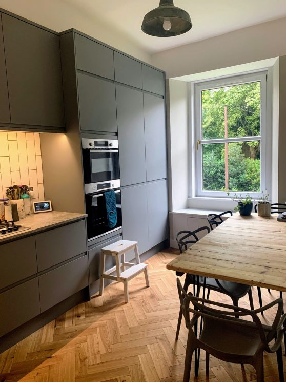 Completed kitchen - window view