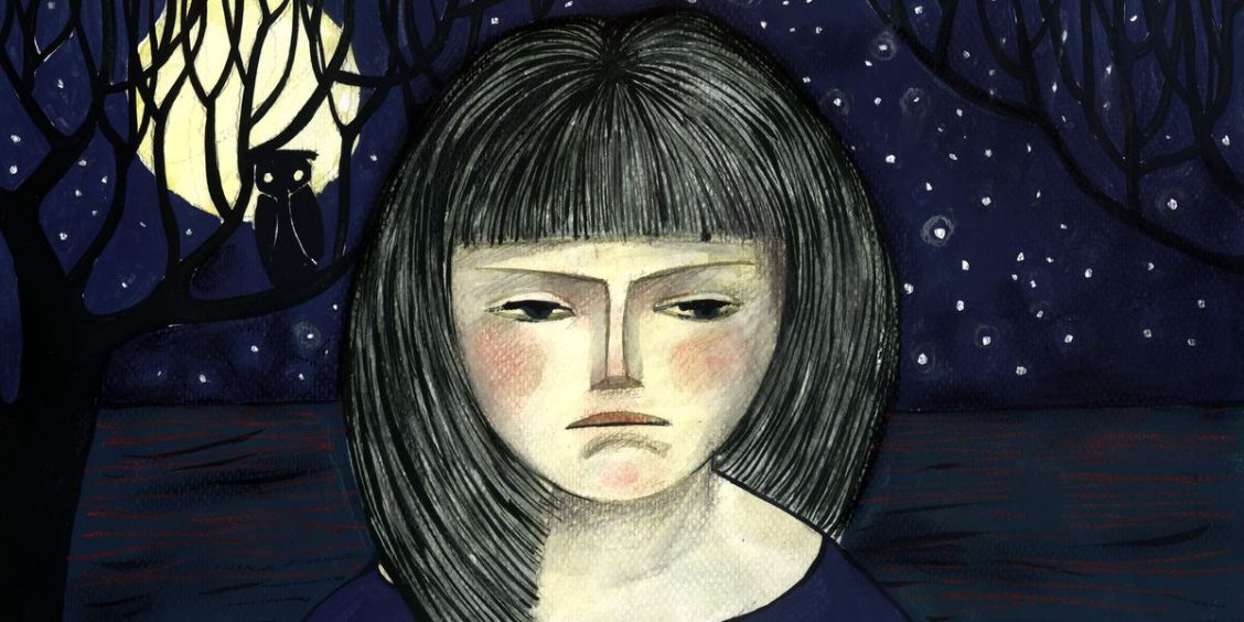 Illustration of a sad-looking woman