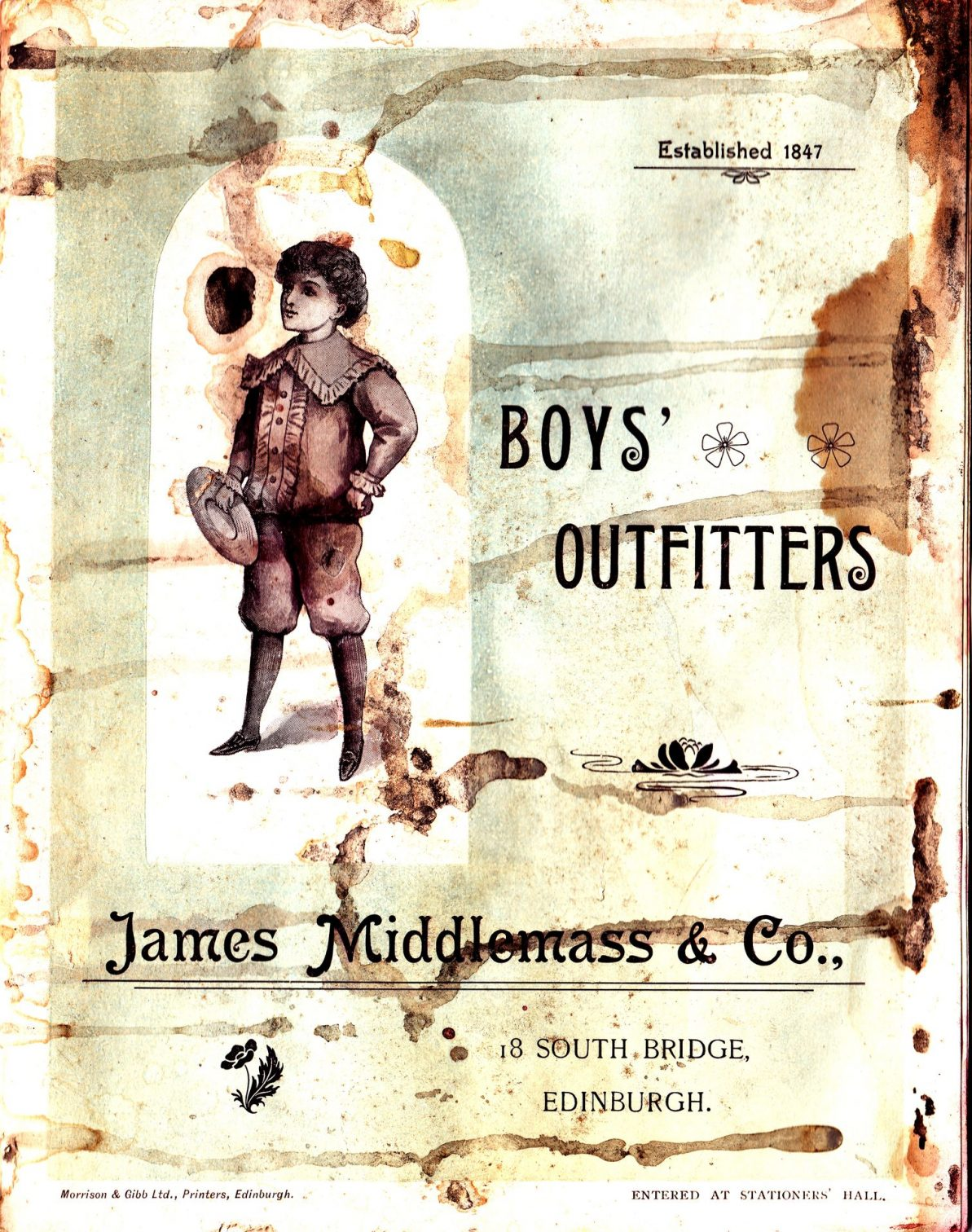 James Middlemass & Co Boys' Outfitters - catalogue cover