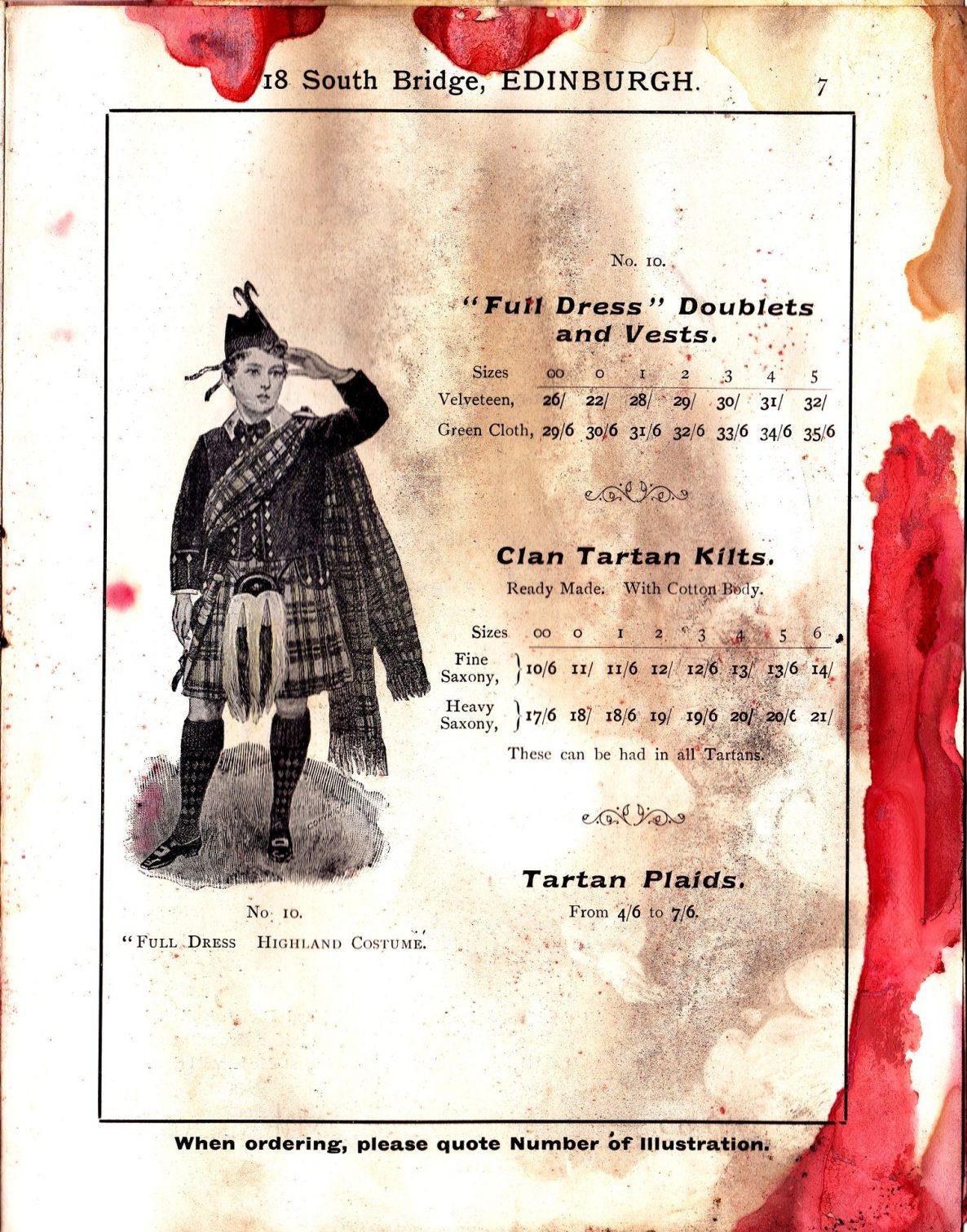 """""""Full Dress"""" Doublets and Vests; Clan Tartan Kilts; Tartan Plaids"""