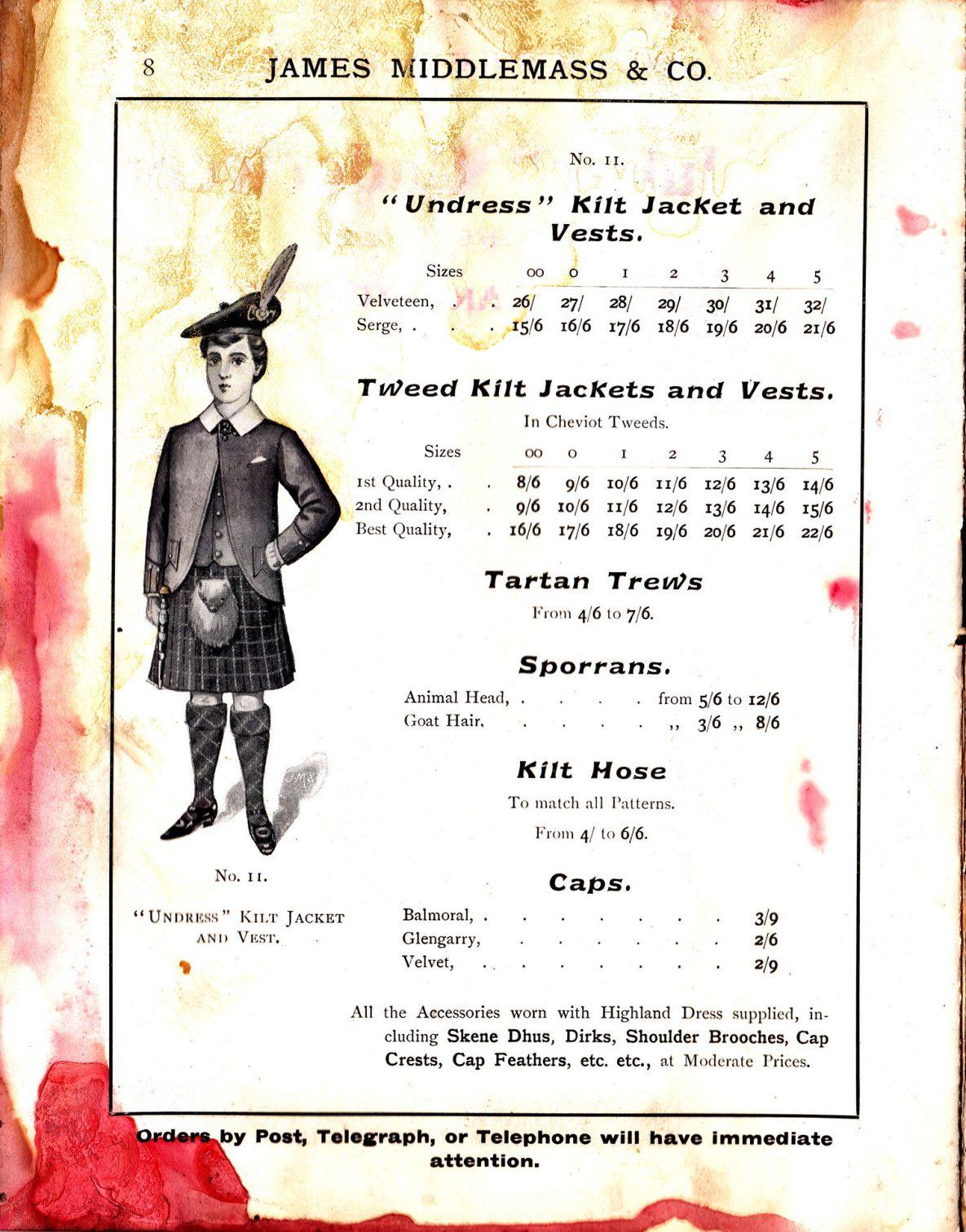 """""""Undress"""" Kilt Jacket and Vests; Tweet Kilt Jackets and Vests; Tartan Trews; Sporrans; Kilt Hose; Caps"""