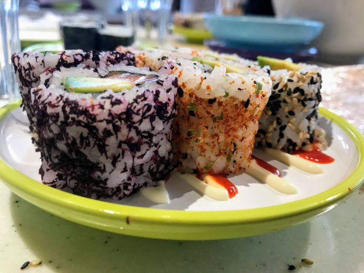 Close-up of inside-out rolls