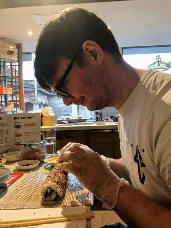 Richard preparing his sushi