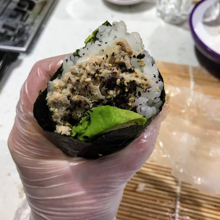 Close-up of a hand roll
