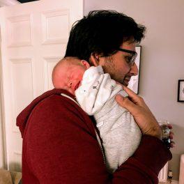 Jamie holding Izzy