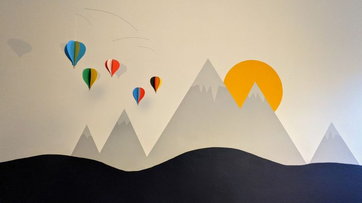 Isobel's room, with hot air balloon mobile
