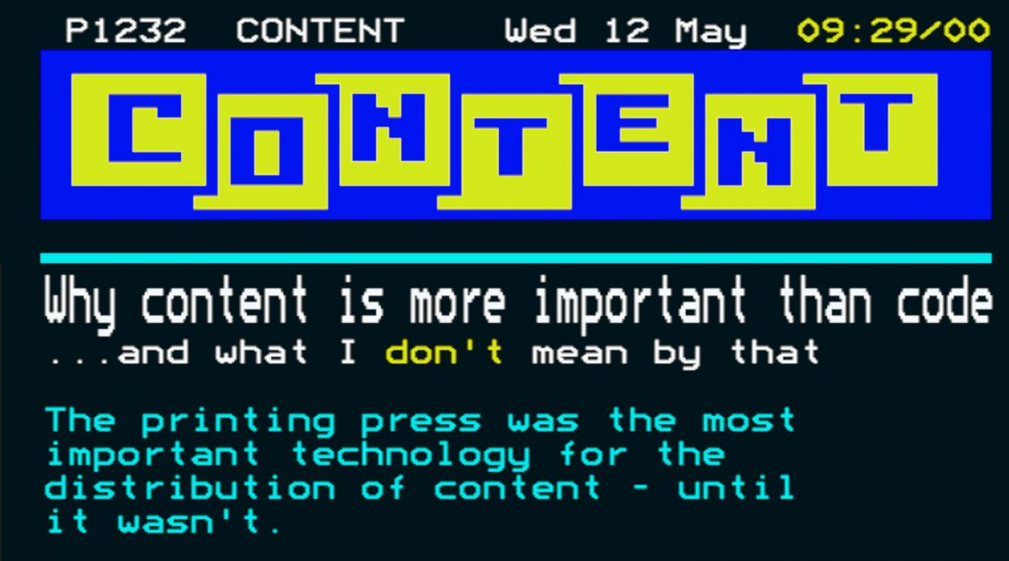 "Mock-up of a Ceefax page with the word ""content"" instead of ""Ceefax"""