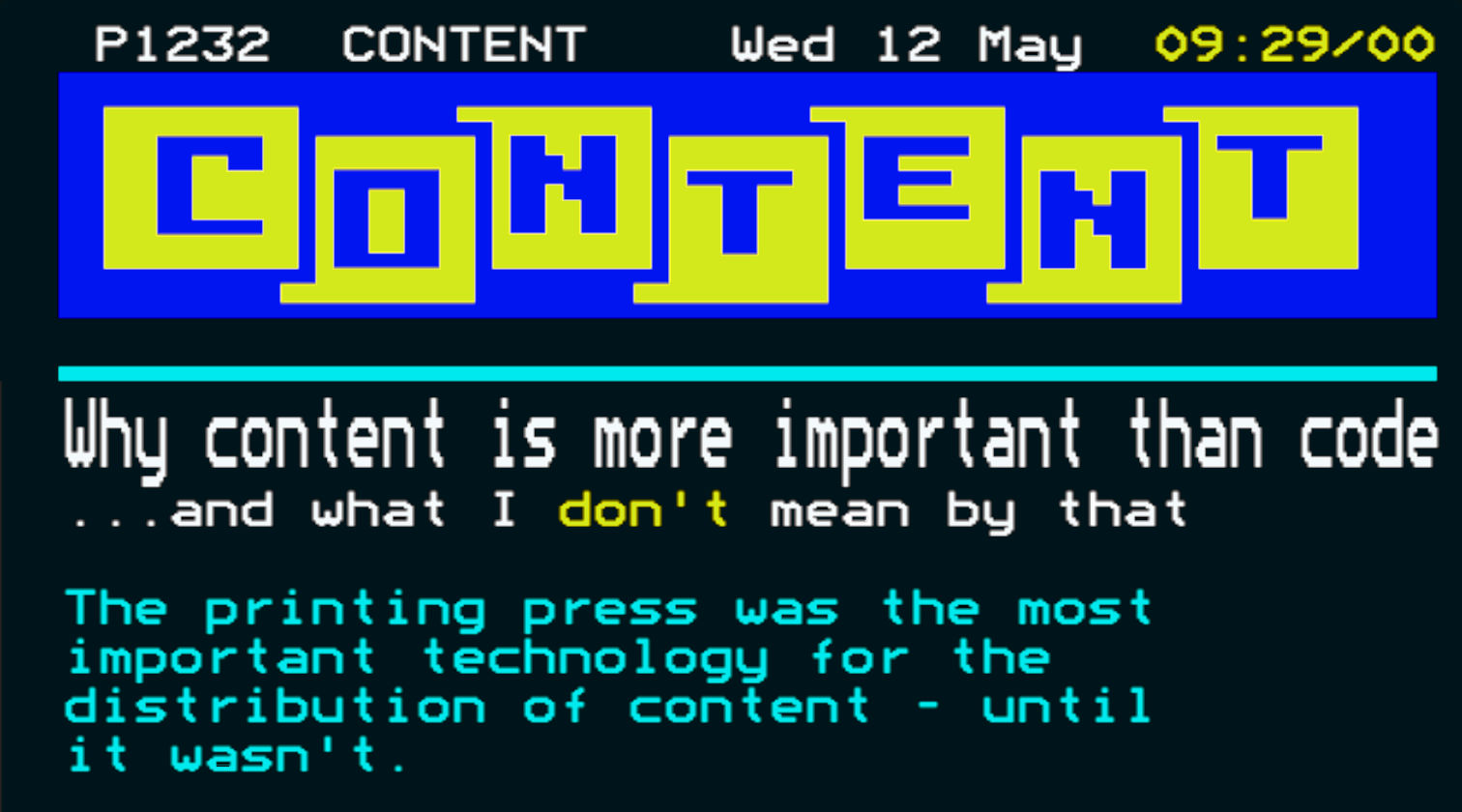 """Mock-up of a Ceefax page with the word """"content"""" instead of """"Ceefax"""""""