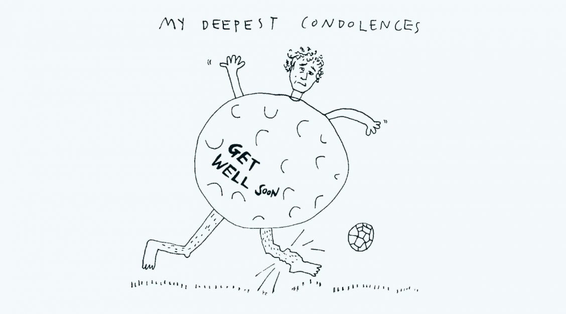 """Illustration of me breaking my ankle playing bubble football with the caption: """"My deepest condolences - get well soon"""""""
