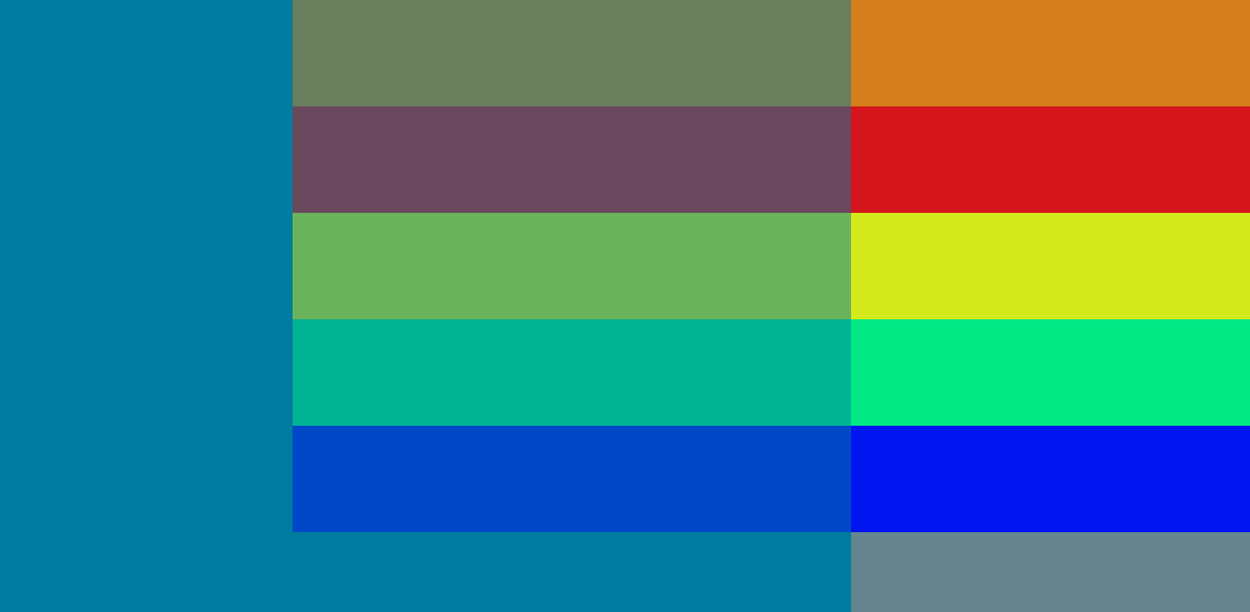 A large teal block overlapping with five differently coloured stripes
